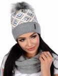 Women's winter PERFECT Geometric set cap with a tube and fleece