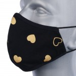 Protective reusable cotton mask with silver ions, bell model - golden hearts