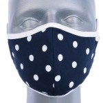 WHOLESALE: Reusable cotton mask BELL for children with OEKO Tex silver ions Dots on Navy Blue