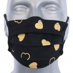 WHOLESALE: Protective black cotton mask with reusable silver ions OEKO Tex Gold Hearts