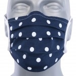 WHOLESALE: Protective black cotton mask with reusable silver ions OEKO Tex Dots on navy blue