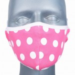 WHOLESALE: Reusable cotton mask BELL for children with OEKO Tex silver ions Polka dots on pink