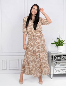 Krysia maxi long chiffon dress with lining size L to 2XL Piasley pattern (1)