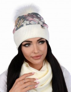Women's winter PERFECT flowers set cap with a tube and fleece